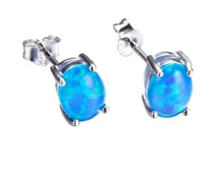 Image Is Loading Natural Blue Fire Opal Stud Earrings 7mm Sterling