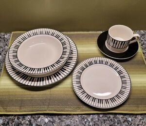 RARE Vintage Black & White Porcelain PIANO Dinnerware Set for 4 Music Themes ☆