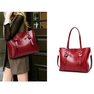 d9af5533892a Image is loading Ladies-Handbag-Oil-Wax-Leather-Top-Handles-Shoulder-