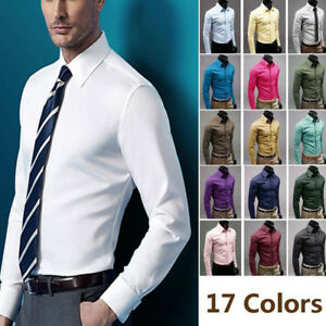 Men-039-s-Casual-Shirt-Cotton-Slim-Fit-Long-Sleeve-Formal-Business-Dress-Shirt-Tops