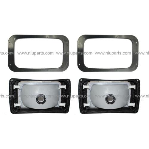 Fit: 1991-2004 Mack RD 600, 688, 690S 2 Set Headlight with Plastic Bezel Black
