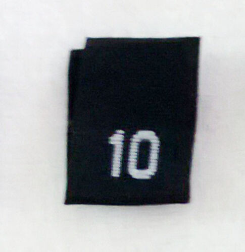 clothing woven labels tags tab tabs size 10 Ten BLACK-Qty 100