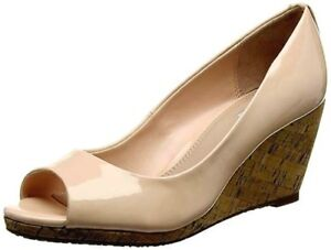 fba27539044 65 DUNE SIZE 3 7 CAYDENCE NUDE BLUSH PATENT MID CORK WEDGE HEEL ...