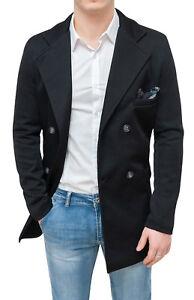 info for 54d72 0dea6 Dettagli su Cappotto giacca uomo sartoriale nero doppiopetto 100% made in  Italy da XS a XL