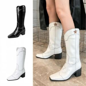 Womens Ladies Cowgirl Cowboy Boots Mid Block Heel Knee High Western Shoes Size