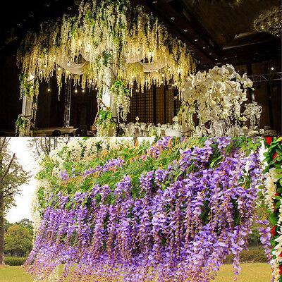 12xWhite Purple Artificial Silk Wisteria Hanging Flower Plant Vine Wedding Décor