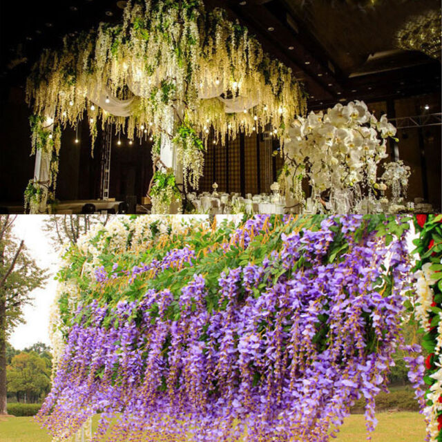 12xWhite Purple Artificial Silk Wisteria Hanging Flower Plant Vine Wedding Décor