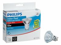 Philips 415760 Indoor Flood 50-watt Mr16 Gu10 Base 120-volt Light Bulb, 6-pack , on sale