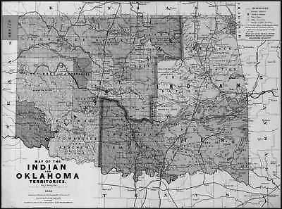 1892 OK MAP OKLAHOMA Sapulpa Seminole Shawnee Sill Skiatook South Cherokee LARGE
