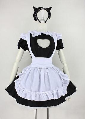Women Girls Open Chest JK Maid Uniform Cosplay Costume Kawaii Fancy Party Dress