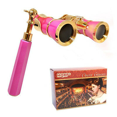 HQRP Opera Glasses Crystal Clear Optic CCO 3x25 Pink-Pearl w/ Handle & LED Light