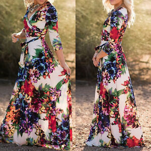 femmes boho long cocktail f te bal plage d 39 t fleuri maxi robe chaude ebay. Black Bedroom Furniture Sets. Home Design Ideas