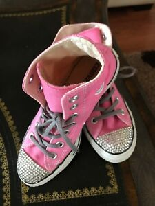 c59d7f633c8b Converse Chuck Taylor High Tops CANDY PINK crystal bling Studded 5.5 ...