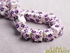 20pcs 10mm Deep Purple Cube Square Ceramic Porcelain Big Hole Loose Beads