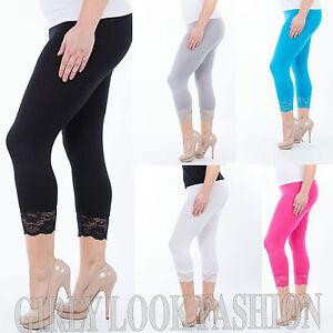 6fce0e503f8a84 Ladies Womens Bottom Lace 3/4 Cropped Leggings Trouser Pants PLUS ...