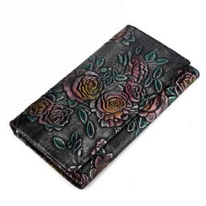 women-Bifold-Money-Purse-Genuine-Leather-Embossed-Card-Holder-Clutch-Long-Wallet