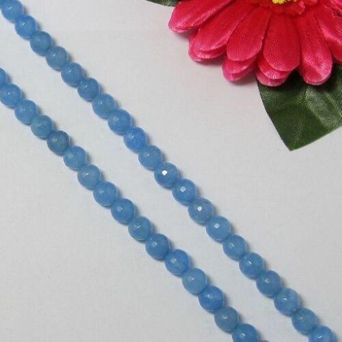 2 Fil Bleu Jade 8mm Ronde facettes Perles