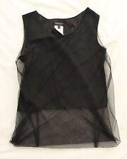 Indivi by Atsuro Tayama Black Double Layer sheer Bubble Hem Sleeveless Top, S/XS