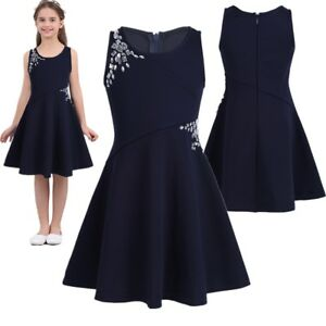 90f391cf7c06 Image is loading Girls-Summer-Casual-Dress-Kids-Baby-Sleeveless-Party-
