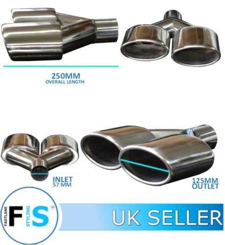 T304 STAINLESS STEEL CUSTOM SPORT EXHAUST OVAL TWIN TAILPIPE TIP LEFT A3004