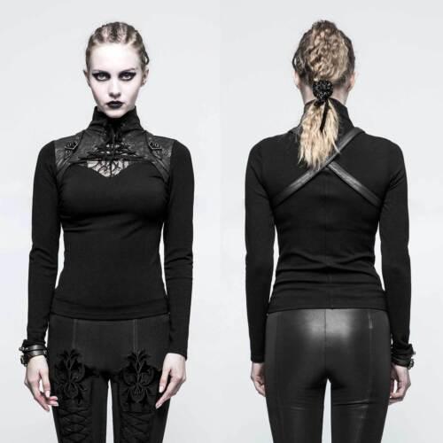 a rave punk Top nero donna da sella gotico Bxdqttf8Un