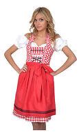 Dirndl Set 3tlg Trachtenkleid 345GT Rot&weiß Kariert Oktoberfest Gr 34 bis 42