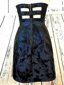XXI-Women-039-s-Clothing-Cocktail-Dress-Blue-Black-Cut-Outs-Fit-Flare-Strapless-Sz-4