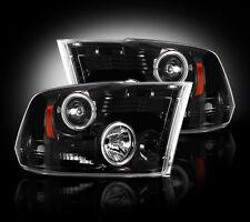 2009-2013 Dodge Ram Projector Headlights Smoked Lens w/ LED Halos & DRLs - LH/RH