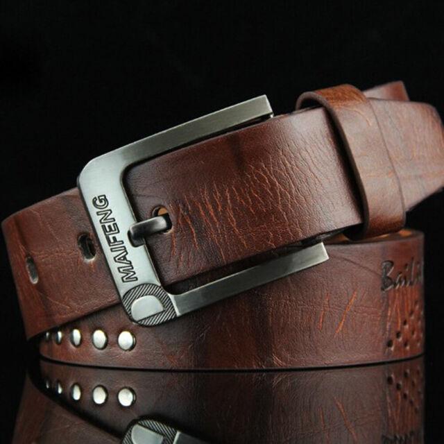 Popular Leather Belt Men Casual Waistband Metal Pin Buckle Waist Strap Business