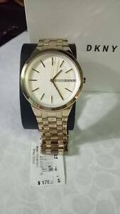 NY2382-DKNY-White-Dial-PARK-SLOPE-Women-039-s-Gold-Tone-Stainless-Steel-Watch
