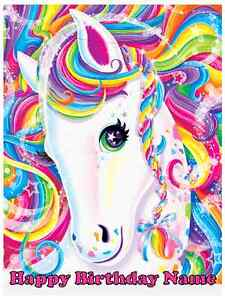 Phenomenal Edible Cake Topper Lisa Frank Horse Rainbow Majesty Icing Sugar Funny Birthday Cards Online Alyptdamsfinfo