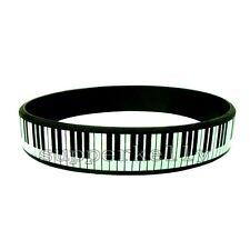 1x Silicone Piano Keys Bracelet Rubber Music Keyboard Pianist Player Wristband