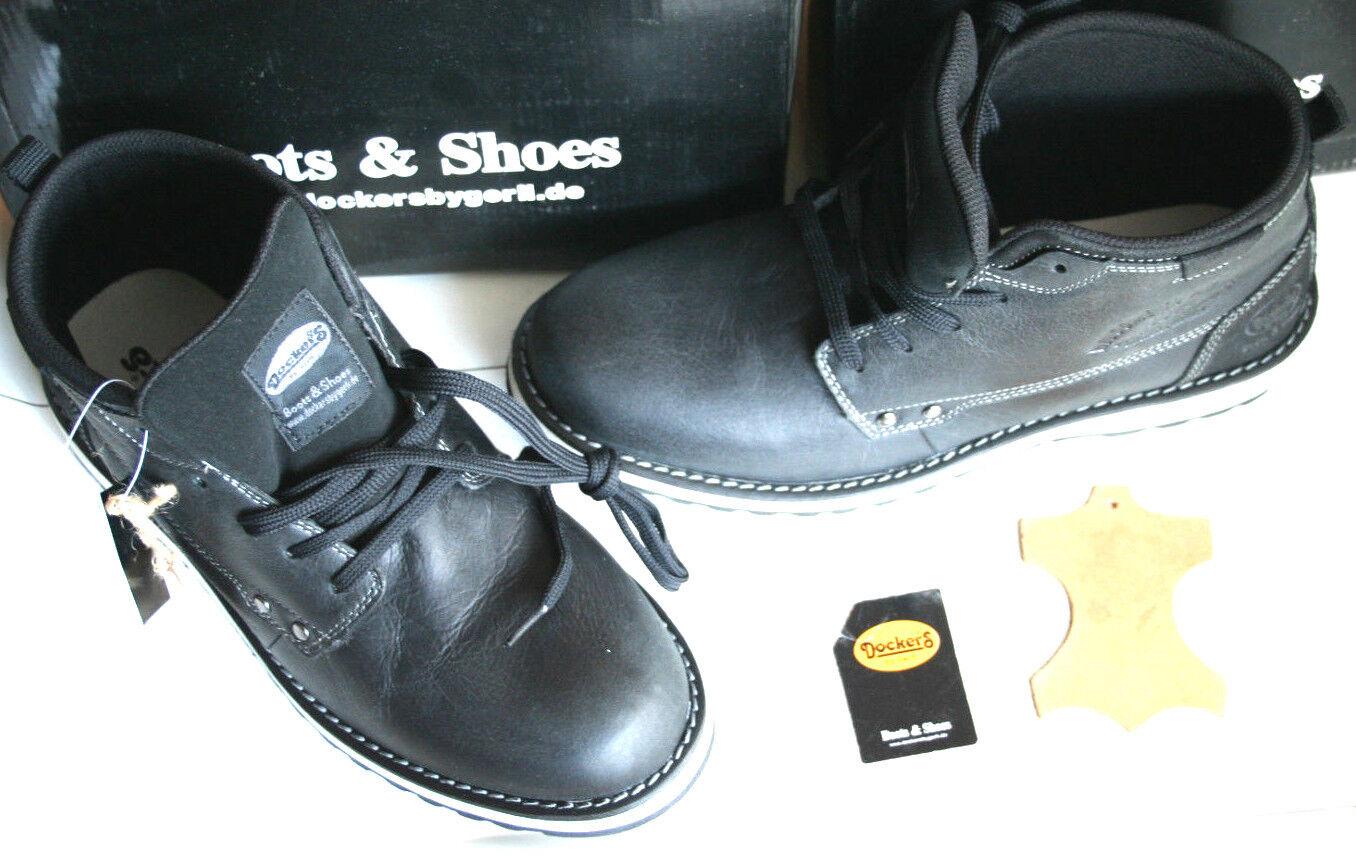 DOCKERS    Neu  black asfalt natur Leder   Gr 43