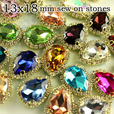 12p 13x18mm Costume Dress Tear Drop Color Rhinestone Applique Sewing On Button