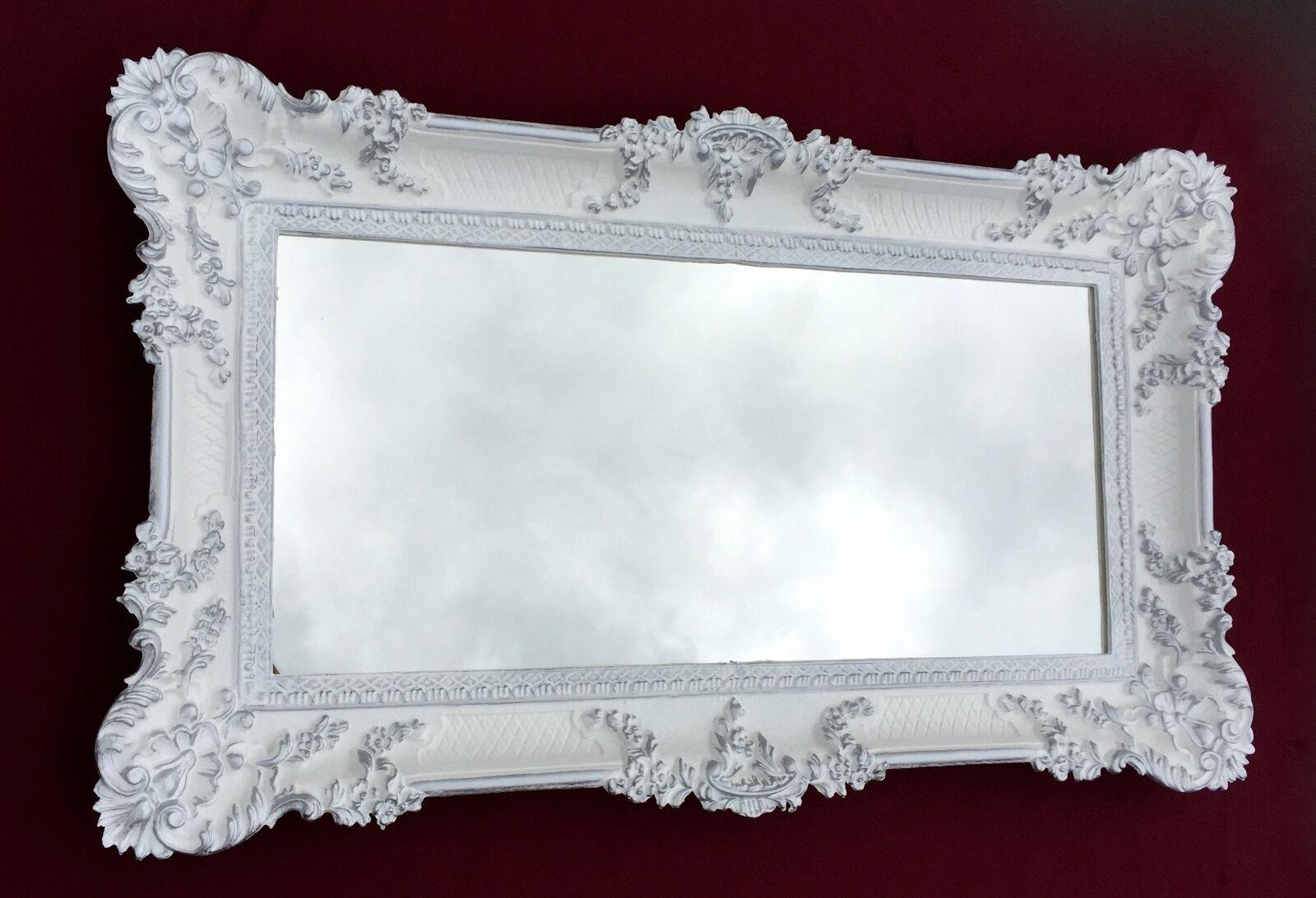 Miroir Mural Antique Baroque Rectangulaire 97x57 étage Blanc-Argent 103074