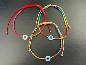 Gold Red Rainbow Coloured Bead Evil Eye Mati Nazar Friendship Cord Bracelet Tan