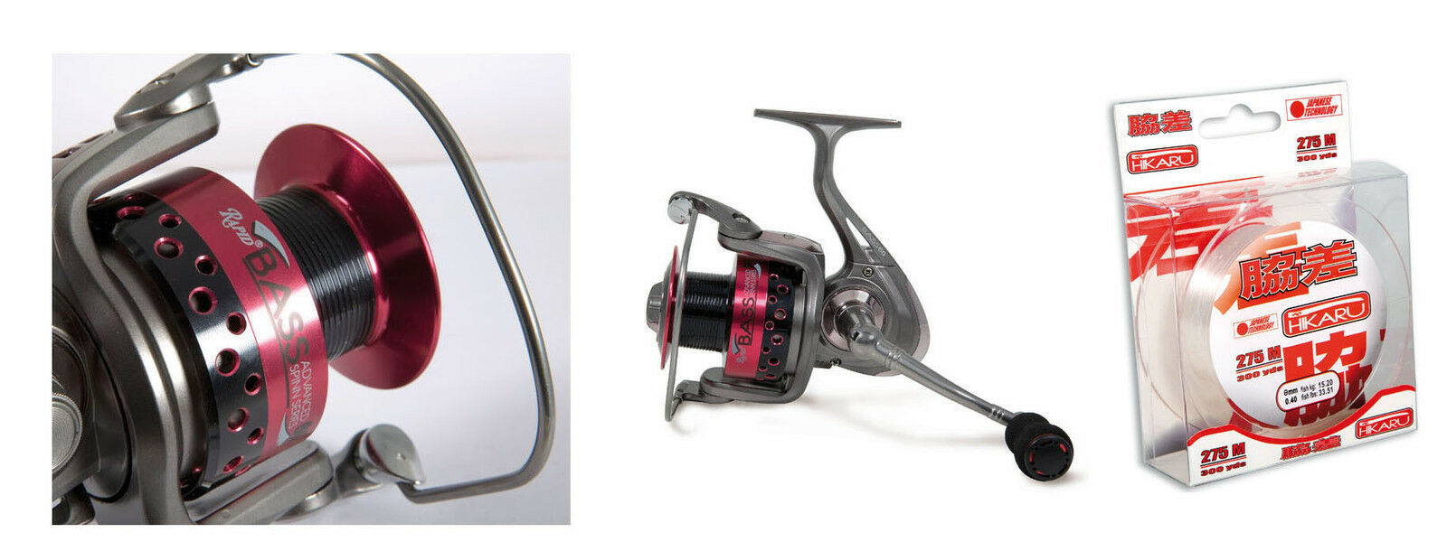 Lineaeffe Red Bass Reel 050 11BB & Spare Spool spin Lure + 275mt Spool of line