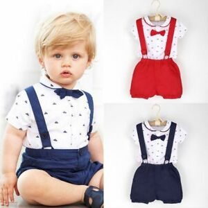 f81b4bd00b1db Infant Baby Boys Outfit Lapel Bowtie Romper Jumpsuit with Suspender ...