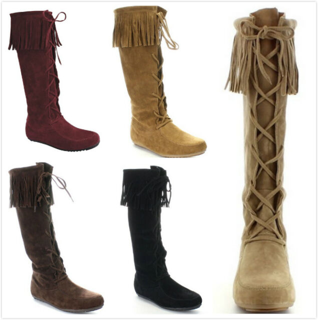 New Women's Fashion Sassy Fringe Moccasin Lace Up Knee High Flat Boots Shoes
