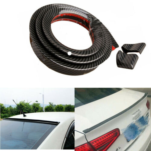 "3D 59/"" Carbon Fiber Car Rear Wings Lip Spoiler Tail Trunk Boot Roof Trim Set"