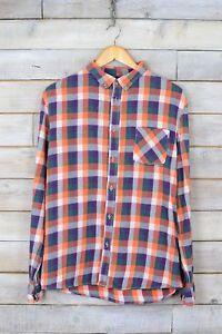 Vintage-Naranja-amp-Lila-de-Cuadros-Camisa-de-Franela-M