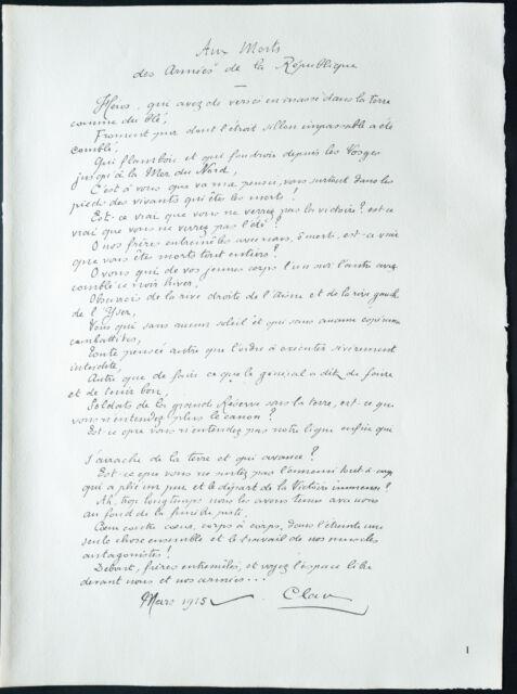 1926 - Litografía Poema de Paul Claudel (1915) dedicada a la muerto de la WW1