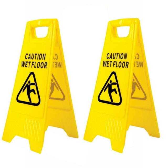 2 x Professional wet floor signs 'A' frame wet floor sign warning on both sides