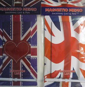 Magnetic Memo Union Jack Great Britain Shopping List and Pen Love Heart