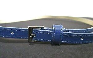 Details about Navy Blue Patent Leather Dark Silver Buckle Women's Skinny Belt Sz 30.5