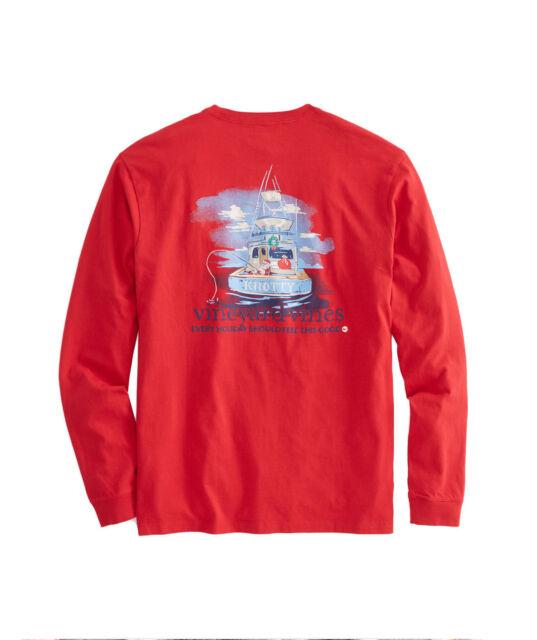 77897240d NWT VINEYARD VINES Long-Sleeve Xmas Santa Sportfishing T-Shirt Knotty Boat!  SZ