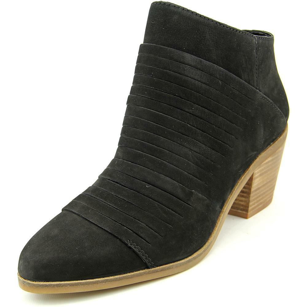 LUCKY BRAND ZAVRINA BLACK Suede Western Ankle Bootie Pointed Toe Cut-Out