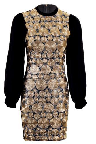 Damas De Chiffon Manga Oro Negro Textura Con Cable Plain atrás ajustado para mujer Vestido