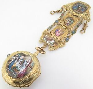 DUFALGA-C1770-GOLD-ENAMEL-amp-DIAMOND-SET-REPEATING-VERGE-POCKET-WATCH-CHATELAINE