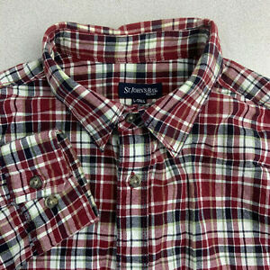 St-Johns-Bay-Button-Up-Shirt-Mens-Large-TALL-Red-Plaid-Long-Sleeve-Casual-Cotton
